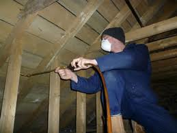 A pest controller treating for woodworm with pesticides.